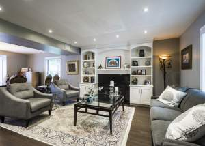 Living Room renovation with fireplace and built in shelving - Total Living Concepts in barrie ontario
