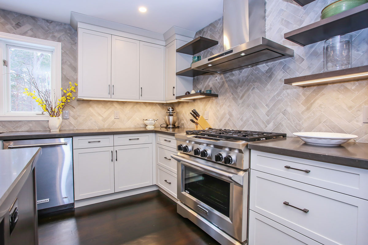 Kitchen design with white cabinets and stainless steel appliances barrie ontario