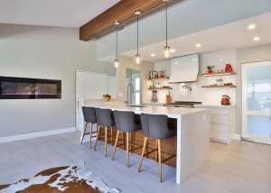 Modern clean white kitchen design with clean lines and colorful accents