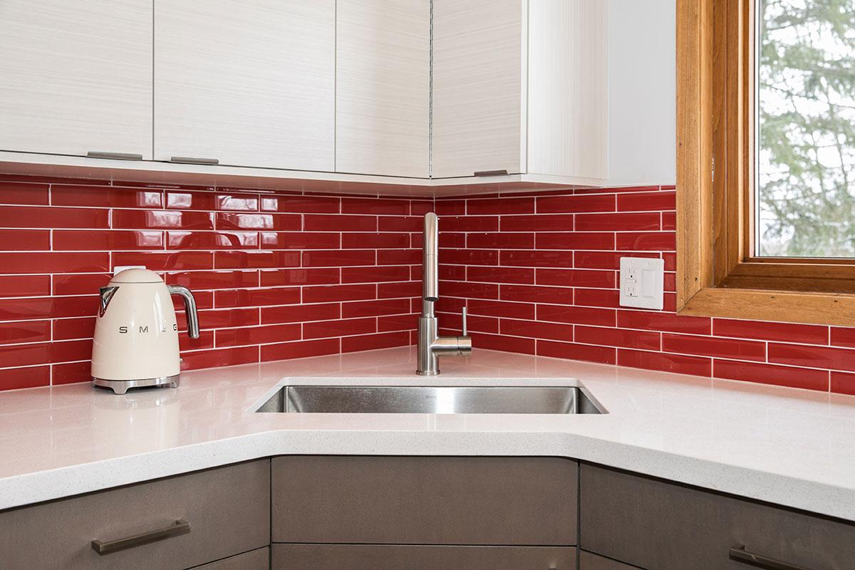 Kitchen renovation with sunken stainless steel sink