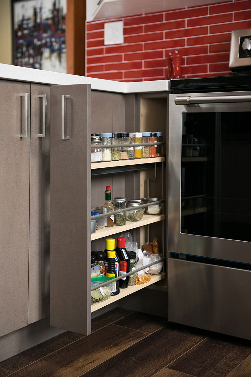 Slide-out cabinet for spices
