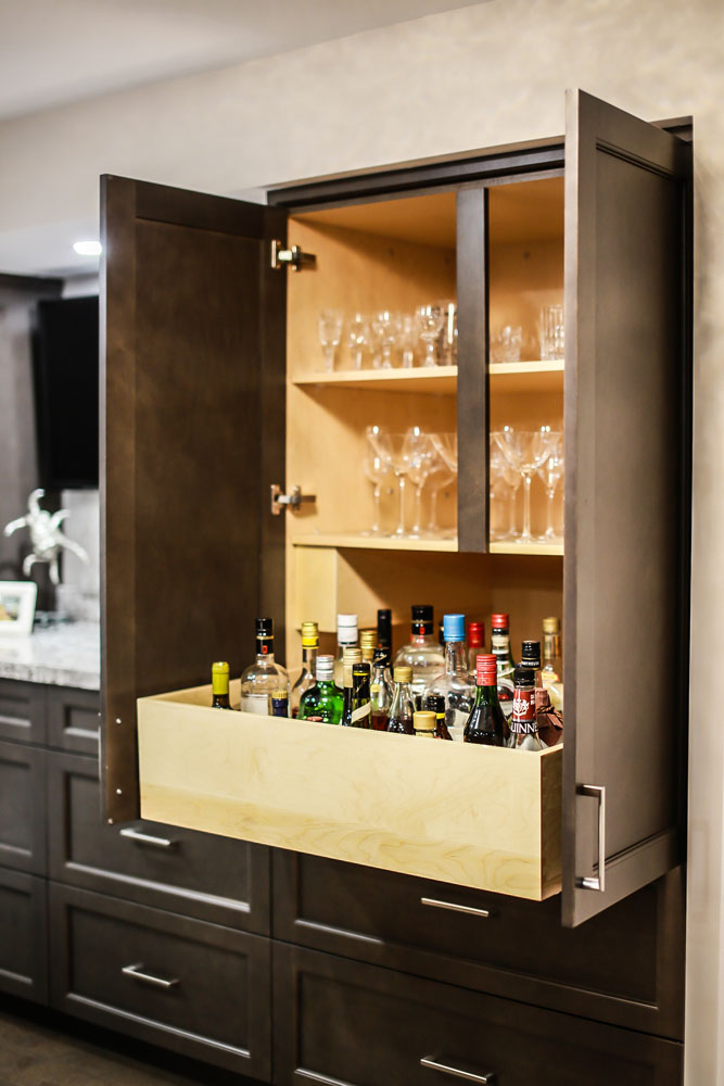 kitchen with pull out liquor drawer