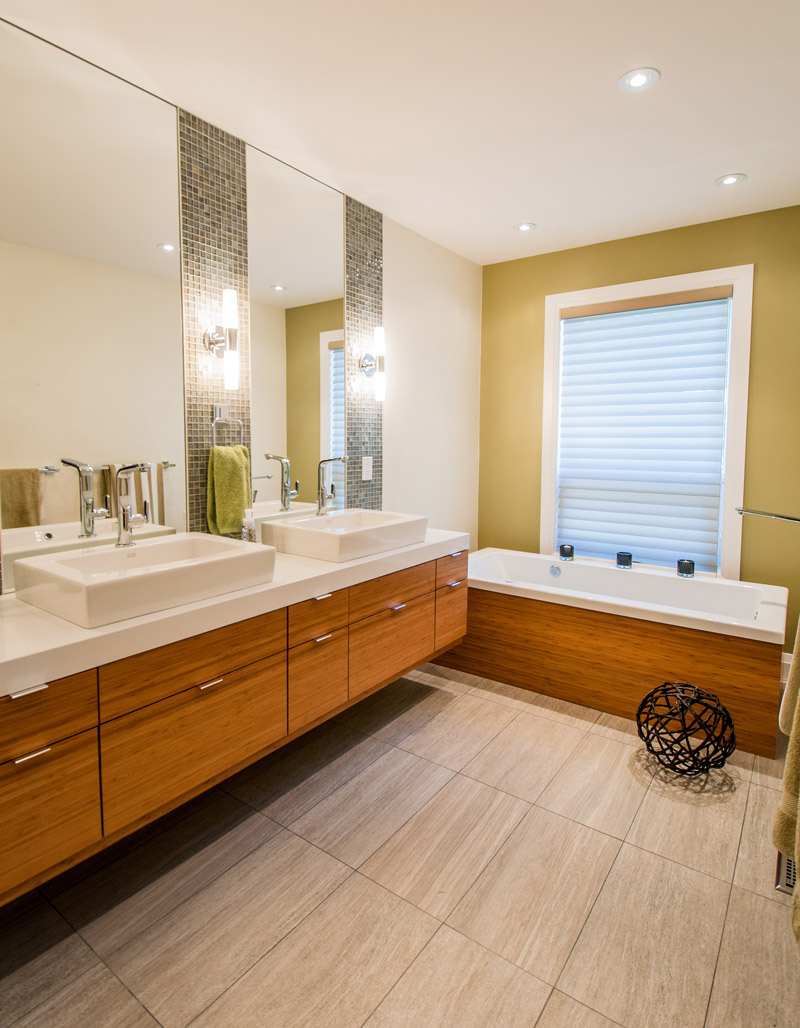 Modern zen bathroom with dual vanities, soaker tub, and separate standup shower - Total Living Concepts barrie ontario