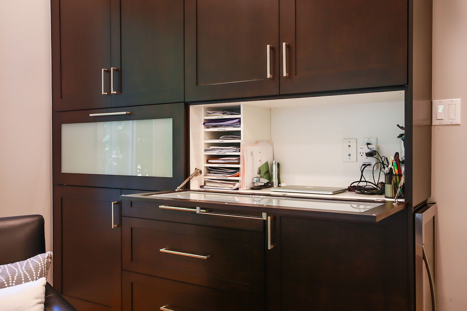 Built-in cabinets with fold out desk - Total Living Concepts barrie ontario
