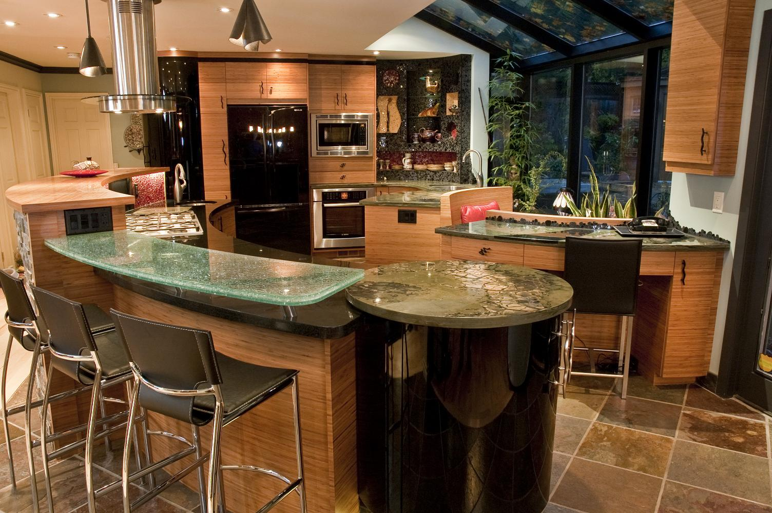 Eclectic Kitchen Design with curved island