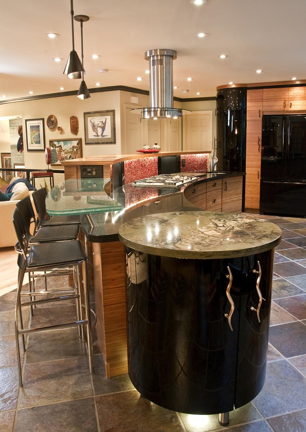 Eclectic kitchen design with round island