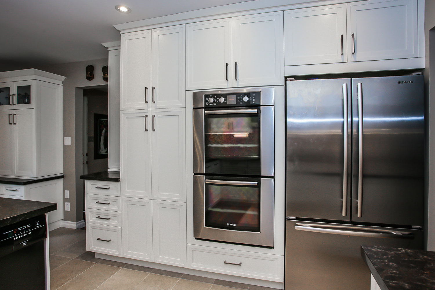 Stacked wall ovens stainless steel