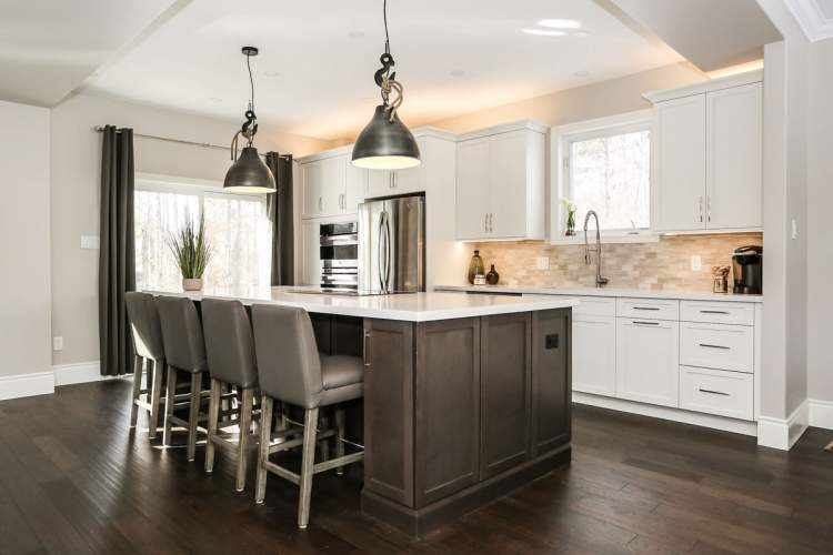 Two tone transitional kitchen design barrie ontario