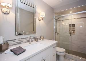 Clean white bathroom design and renovation - Total Living Concepts barrie ontario