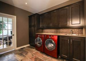 Laundry Room Renovation with lots of cabinets and sink