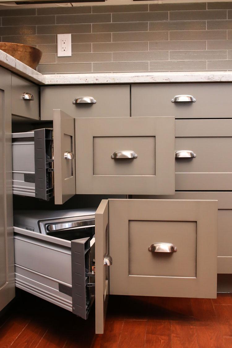 kitchen with convenient corner cabinet drawers