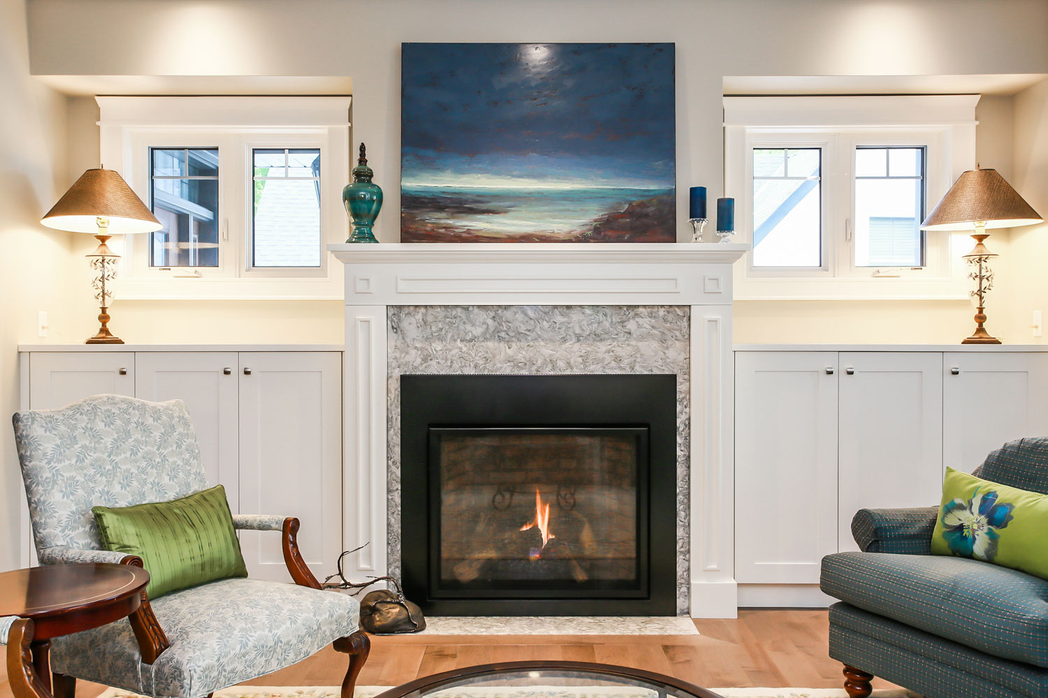 Living room renovation with gas fireplace - total living concepts barrie ontario