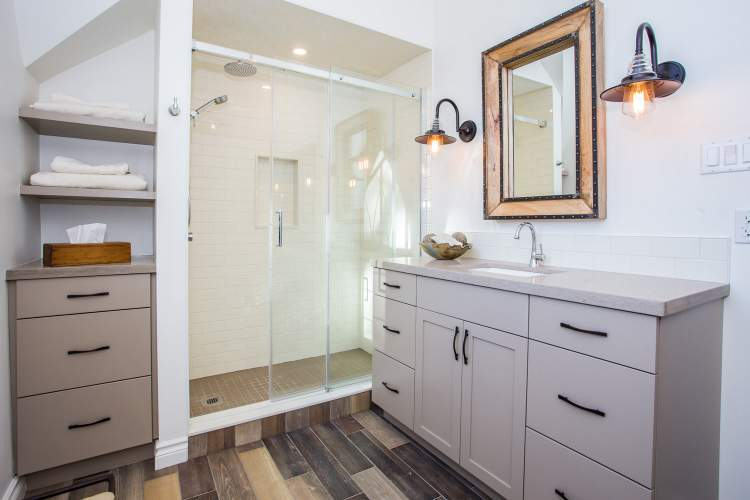 Modern farmhouse bathroom design and renovation - Total Living Concepts barrie ontario