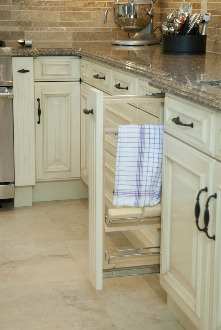 kitchen design with pull-out towel rack