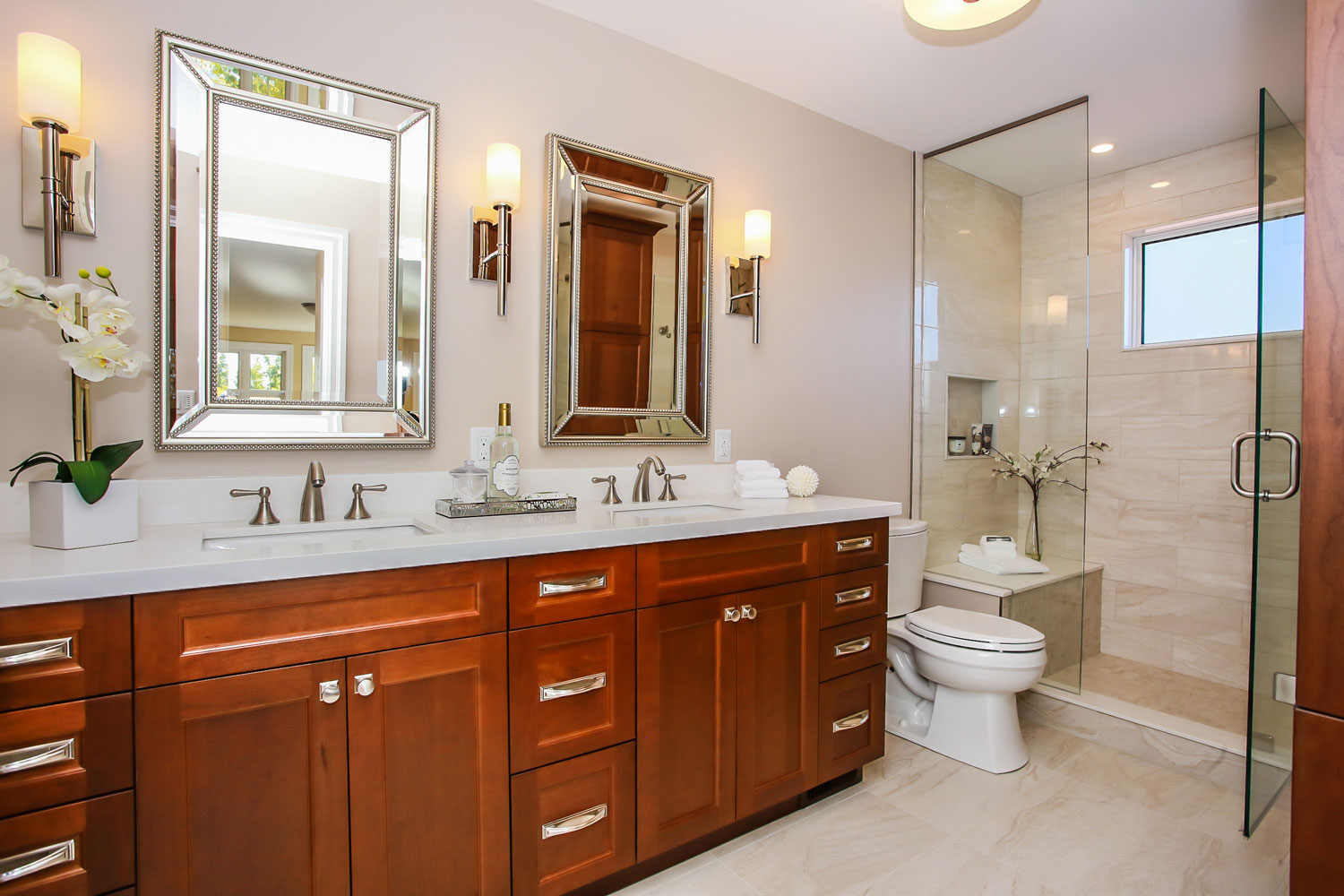 Traditional ensuite with cherry cabinets and white countertop and standup shower - Total Living Concepts barrie ontario