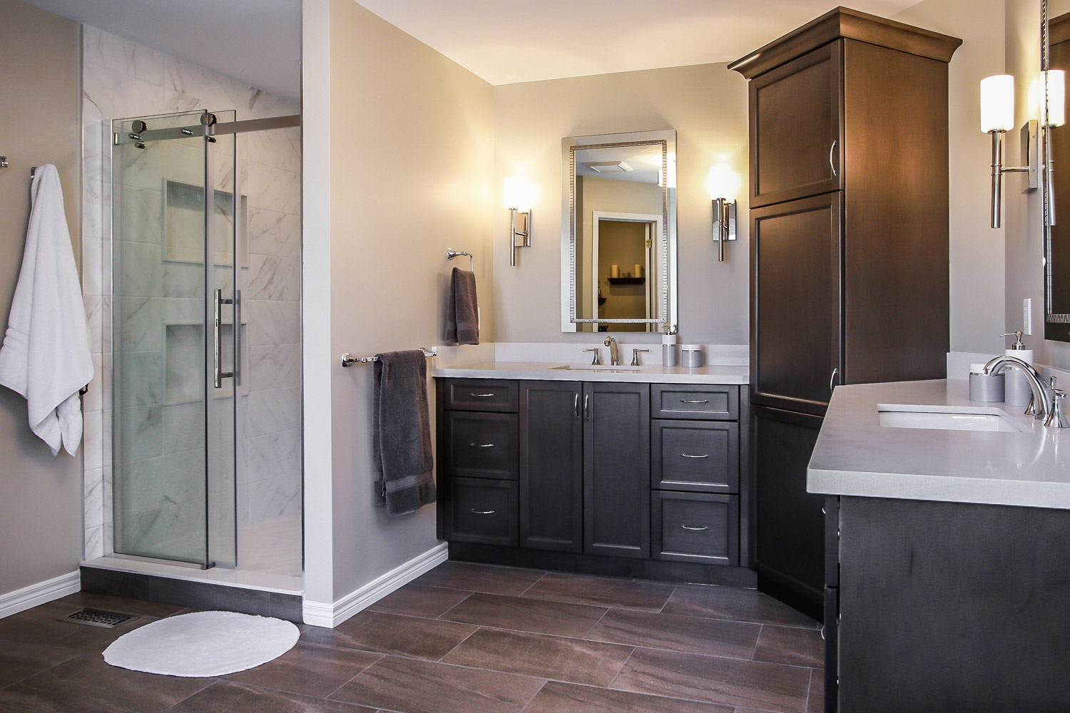 Ensuite renovation with dual vanities, stand up shower, soaker tub - Total Living Concepts barrie ontario