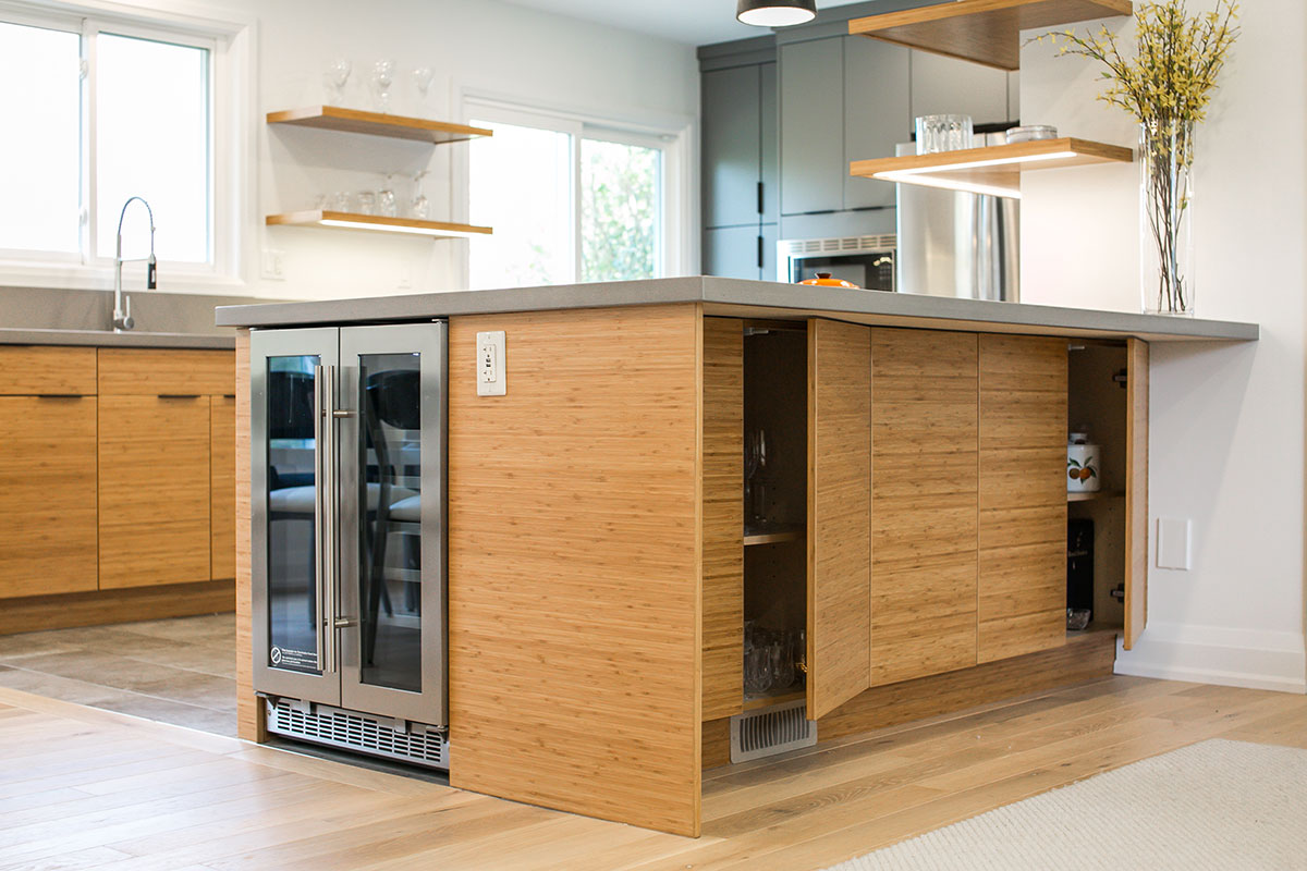 Kitchen design with eatup bar with built-in wine fridge and storage